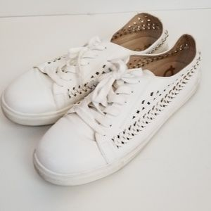 Sam Edelman white perforated sneakers shoes sz 10